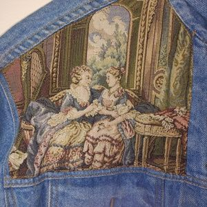Vintage Jean Jacket Victorian Embroidered 1980's